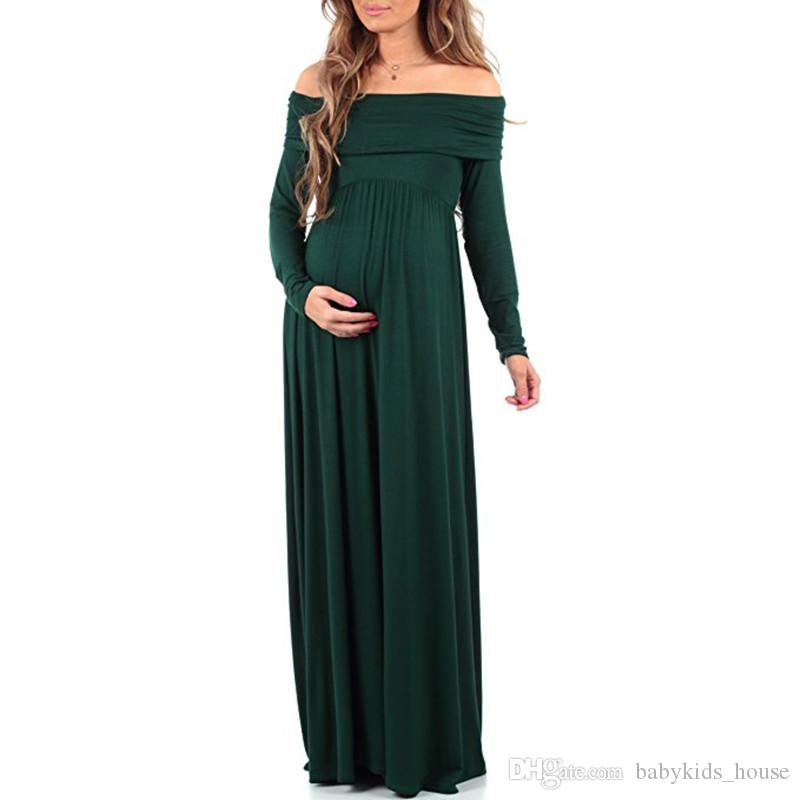 Long maternity dresses for photo shoot Cowl Neck Pregnants Sexy Photography Props Off Shoulders Dress pregnant dress