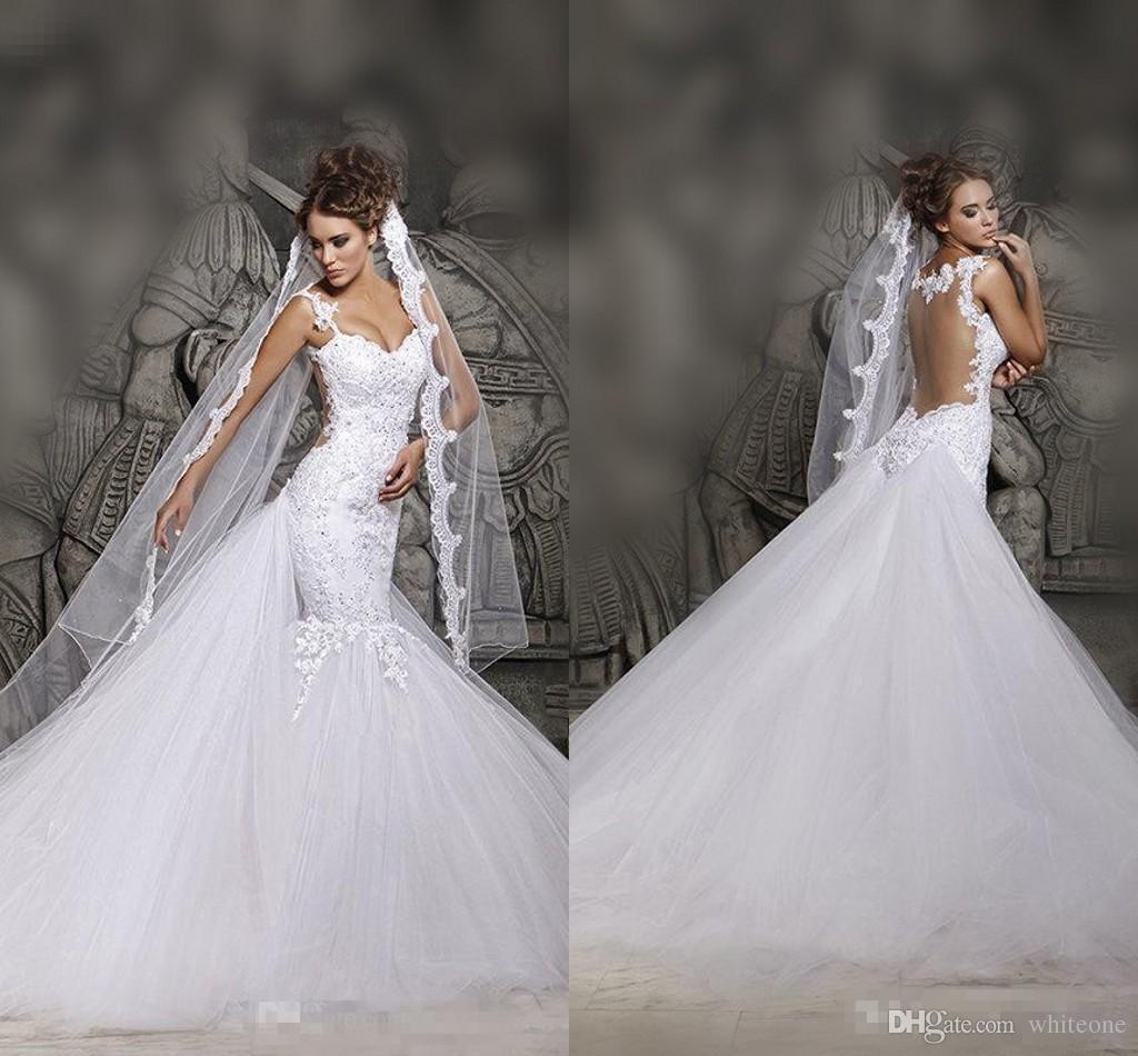 Cheap White Ivory Wedding Dresses Mermaid Lace Appliques: 2016 Cheap Court Train Mermaid Wedding Dresses Sheer