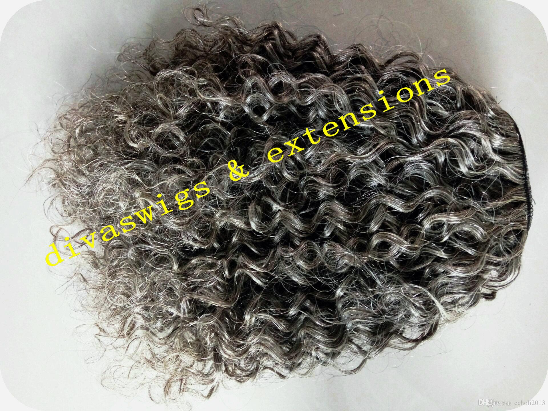 Short high kinky curly Silver grey two tone ombre hair weave ponytail hairpiece clip virgin gray drawstring ponytail hair extension 14inch