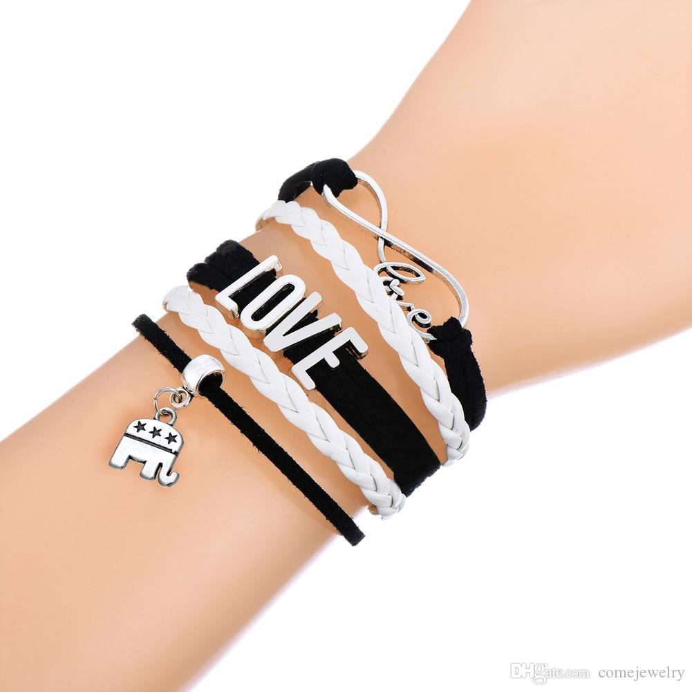 Leather Love & USA Republican Symbol Donkey Vs Elephant Charm Multilayer Braided White and Pink Wax Rope Adjustable Bracelet
