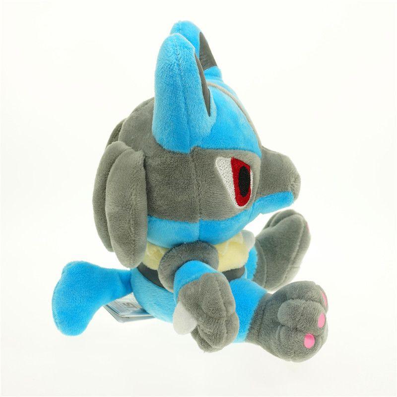 18cm Cartoon Lucario Plush Toys Doll Kawaii Pikachu Anime Pocket Monsters Stuffed Animals Doll Kids Christmas Gifts