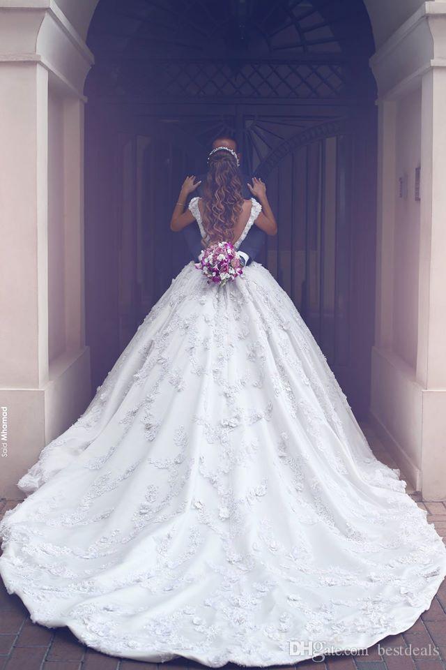 Romantik Balo Saten Uzun Gelinlik Kare Boyun Aplikler Kolsuz Katedrali Tren Prenses Düğün Elbise