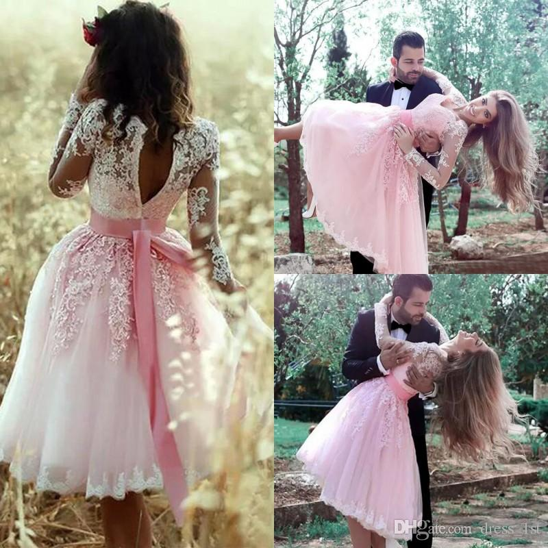 7a4613c94d53 Pink Lace And Tulle Short Prom Dresses 2017 Cheap V Neck Illusion Long  Sleeve Sash Knee Length Party Homecoming Dress Custom Made EN8225 Cheap  Modest Prom ...