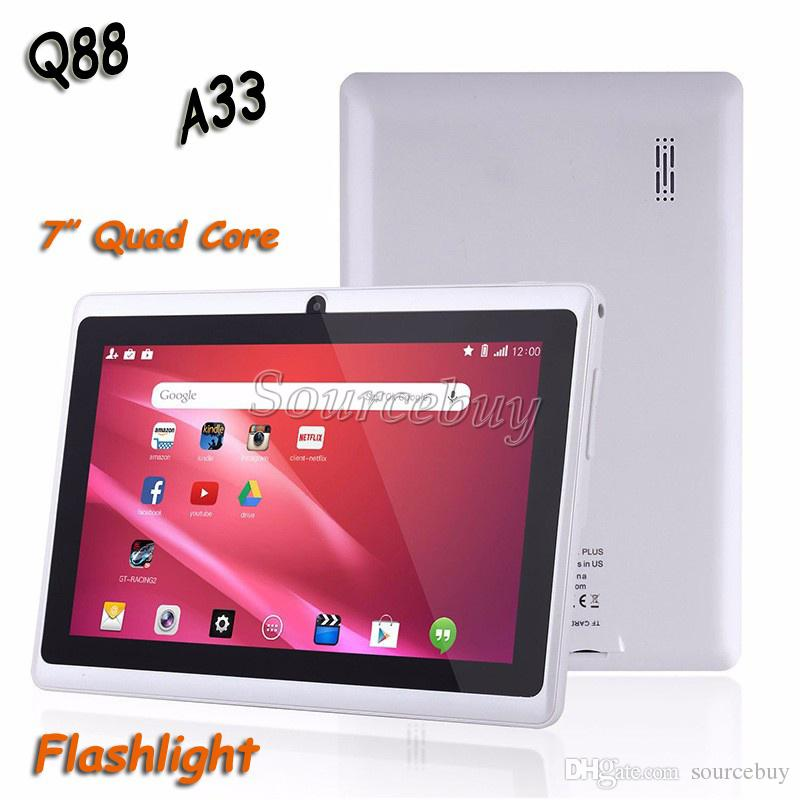 "50pcs 7"" Q88 Quad Core Dual Cameras A33 Android 4.4 Tablet PC 512MB 4GB Flashlight Wifi Capacitive Screen Colorful DHL Free Shipping"