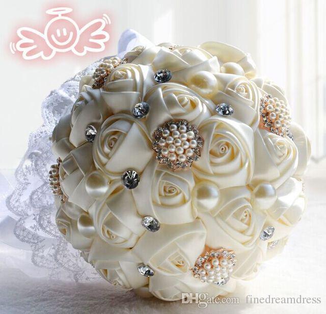 Cream Wedding Bridal Bouquets Satin Handmade Artifical Flowers Peals Crystal Rhinestone Bride Holding Flower Wedding Brooch Bouquet SL07