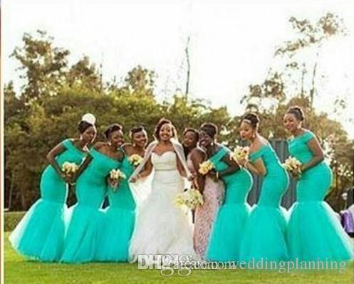 Vestidos de dama de honor de estilo sudafricano caliente más el tamaño sirena de dama de honor vestidos para la boda fuera de turquesa de hombro vestido de tul