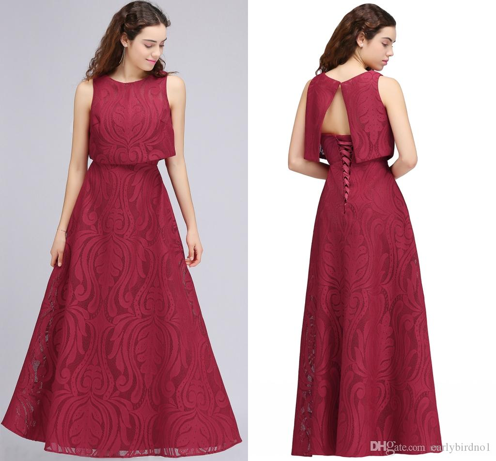 Burgundy New Designer Two Pieces Long Evening Dresses 2018 Full Lace ...