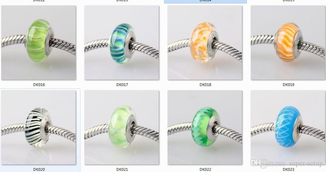 10 unids boutique chapado en plata 925 logo Murano Colored glaze gran agujero Granos de Cristal tornillo de rosca tubo Fit DIY Pulsera collar de los encantos de La Joyería