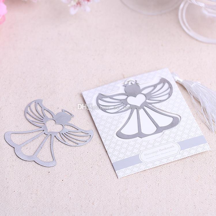 Anjo Blessings Bookmarker com borlas brancas Bookmark Presente Do Casamento Favores Do Casamento Bookmarks Party Natal Novo
