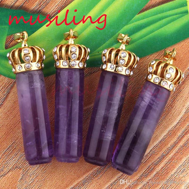 Pendant Necklace Chain Natural Stone Crown Gold Plated Cylindrical Amethyst Rose Quartz etc Stone Accessories charms Jewelry