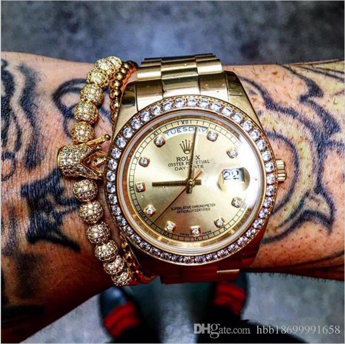 Nuevos hombres de moda Micro Pave CZ encanto de la joyería de circón cúbico de la corona y 4 mm granos redondos pulsera trenzada mujer pulseira macrame