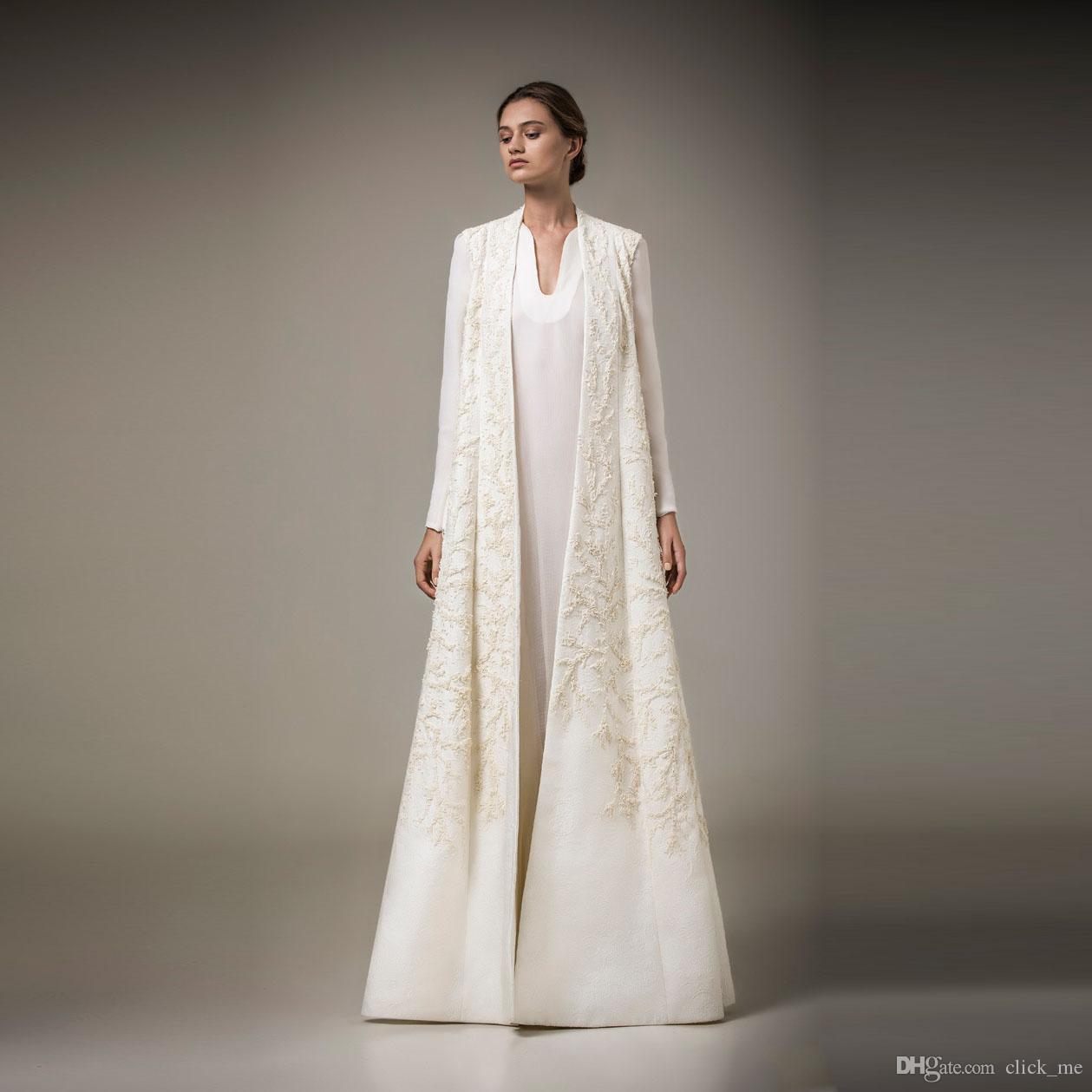 Großhandel Saudi Arabien Mutter Der Braut Kleider Mit Jacke / Jacken  Ambroidery Lange Ärmel Abendkleider Lange Satin Vestidos Elegante  Abendkleid Von