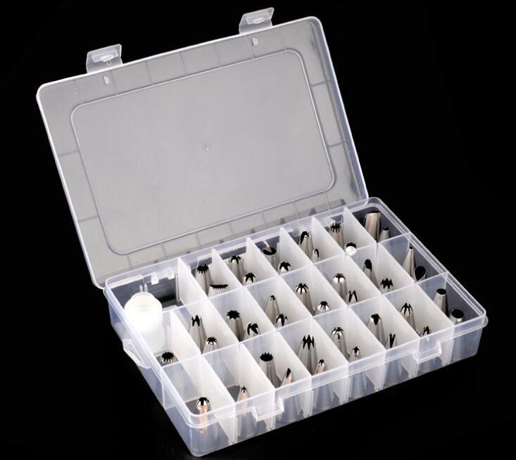 케이크 꾸미시 팁 키트 커플러와 플라스틱 상자와 42 피스 스테인리스 스틸 아이싱 파이프 팁 노즐