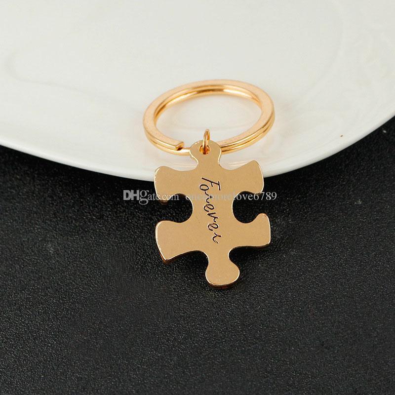 Livraison gratuite Nouveaux Bijoux Toujours Pour Toujours Lettre couples amants puzzle Porte-clés Saint Valentin cadeau porte-clés