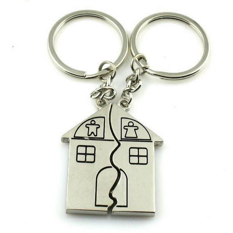 838bfb3ba3a Couple Keychain house Key Ring Silver Plated Lovers Love Key Chain  Souvenirs Valentine s Day gift