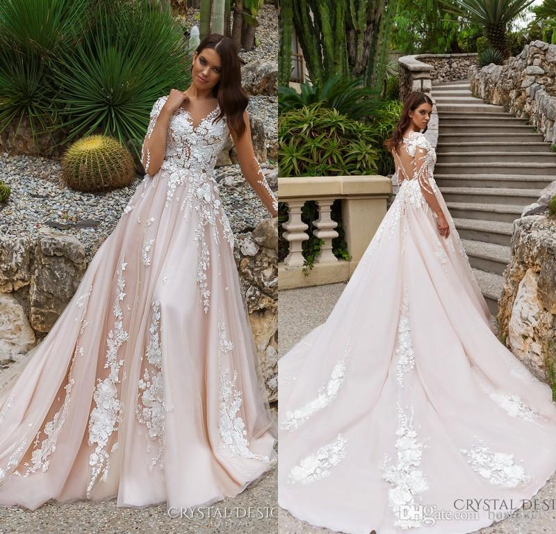2018 Stunning Designer A Line Wedding Dresses Illusion Neckline