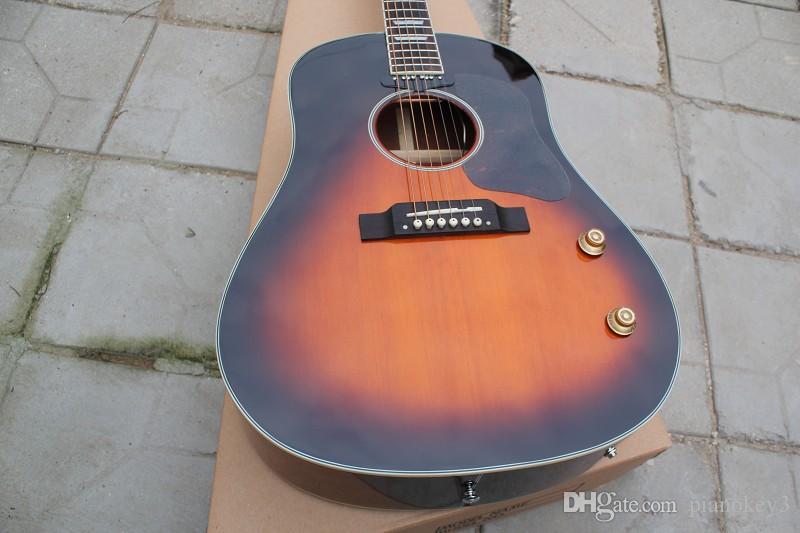 Chitarra artigianale all'ingrosso, classica chitarra elettrica acustica stile vintage 160E a 6 corde, vintage colore sunburst