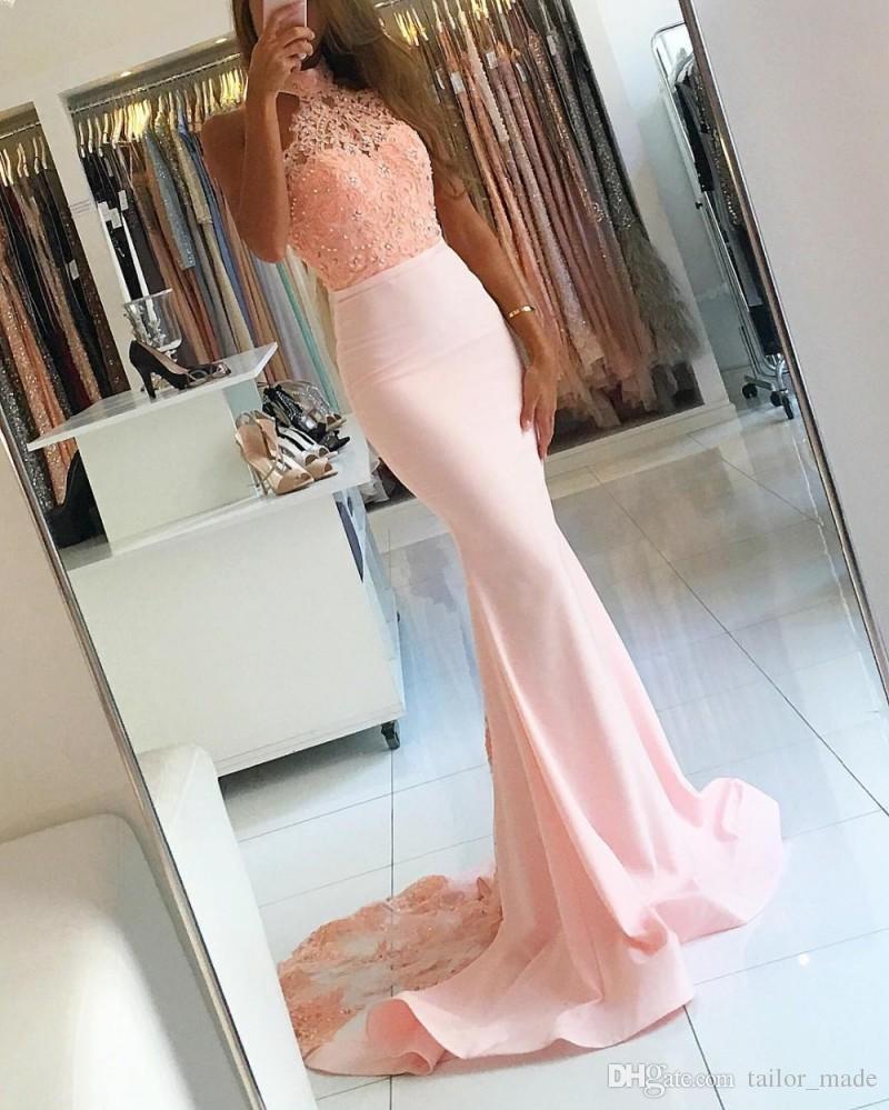 Nouveau Luxe Élégant Halter Sirène Hors-la-épaule Robe De Soirée Rose 2019 Dentelle Appliques Longues Robes De Bal Robe De Noiva