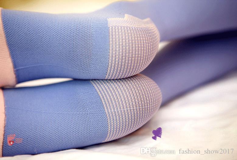 تخرج جوارب ضغط جوارب طويلة معتدلة ضغط الفخذ العليا دعم الساق المفتوحة أصابع جوارب الليل للمرأة