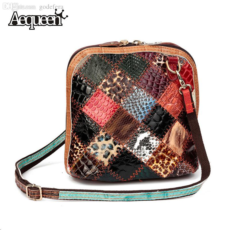 f1f218f0c925 Wholesale-Genuine Leather Shell Shoulder Bag Flower Decor Patchwork ...