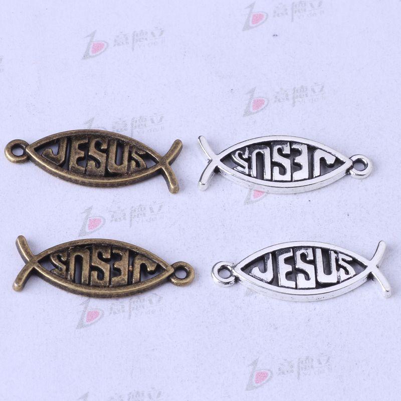 Hollow Fish JESUS Colgante DIY Jewelry Fit Pulseras o Collar de Plata Antiguo / encantos de bronce 250 unids / lote 156z