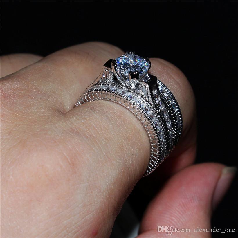 Anneaux de diamant de luxe simulés carrés 20ct définit 3-en-1 bijoux de mariage de fiançailles solide 14kt Wwhite or rempli bague pour les femmes taille 5-11