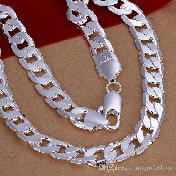 fashion simple stainless steel plated 925 silver plated thick chain 12mm necklace for men