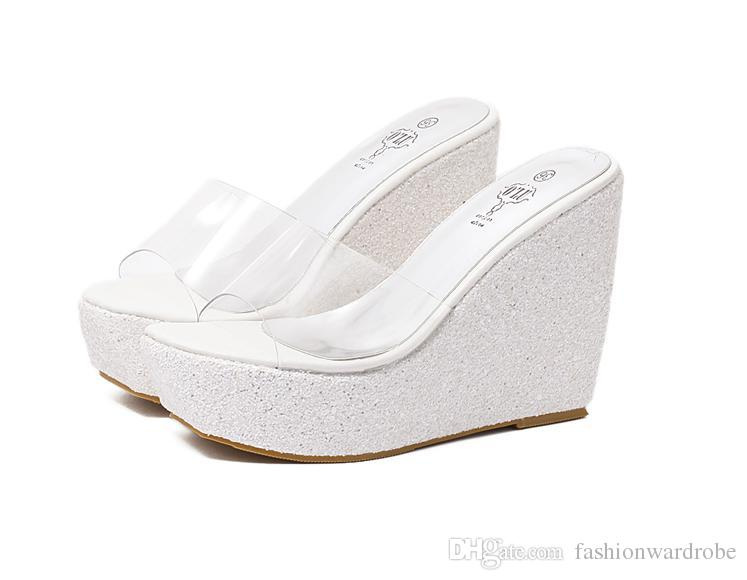 Designer Korean New Arrival Summer PVC Open Toe Flip Flop Glitter Rhinestone High Heel Wedge Jelly Womens Sandals Slip On Shoes