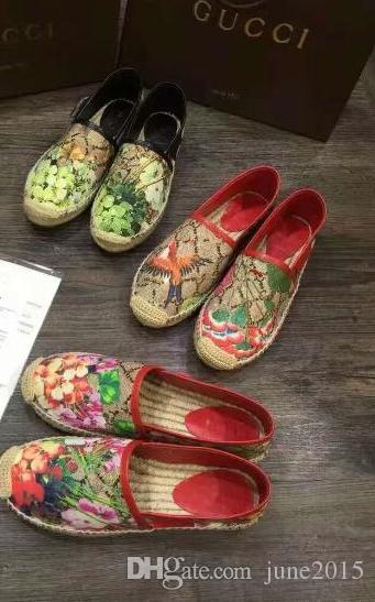 Kadın tuval tembel Flats En kaliteli Moda Marka Bayanlar ünlü Lüks Hakiki Deri Tuval Çiçekler Loafer'lar Espadrilles ile kutuları
