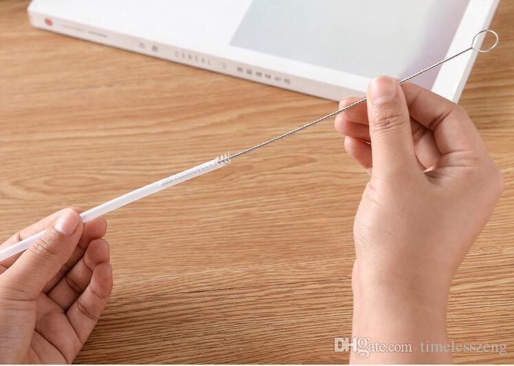 Spazzole paglia in acciaio inox 17cm 20cm 24cm Pulitori paglia latte tè spazzola capelli spazzole riutilizzabili biberon