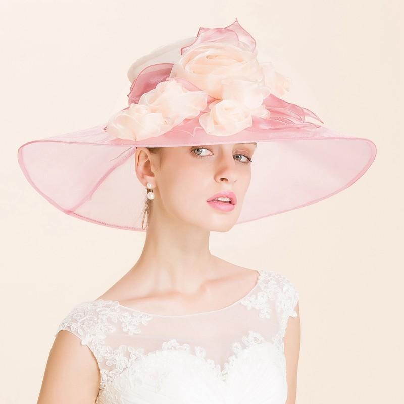 2016 Pink Flower Occasion Hats Bridal Wedding Hat High