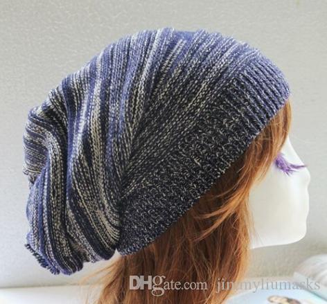 Mens Ladies Knitted Woolly Winter Oversized Slouch Beanie Hat Cap Unisex