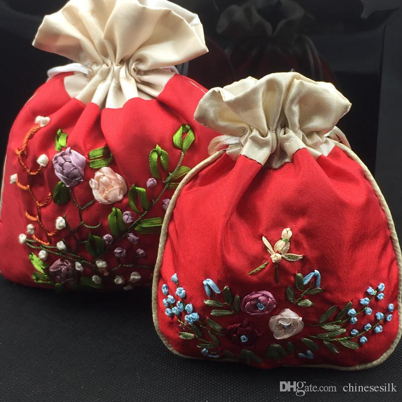 Handmade ribbon embroidery patchwork small satin bags drawstring handmade ribbon embroidery patchwork small satin bags drawstring bride groom wedding favor bags chinese gift packaging bag storage pouch black and white solutioingenieria Image collections