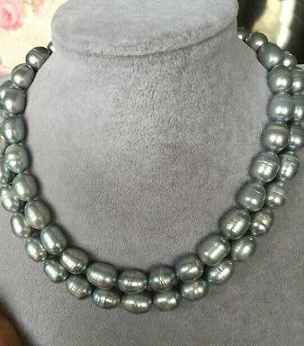 0c43080244261 HOT double strands 11-12mm SOUTH SEA BAROQUE GREY PEARL NECKLACE 18 INCH 19  INCH 14K GOLD