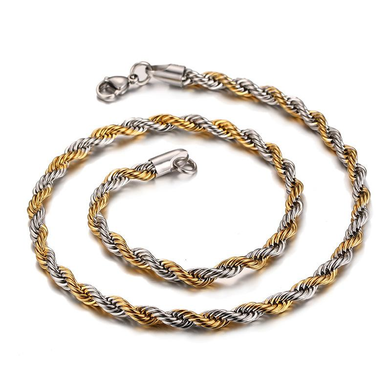 9ba07dcec73de Fashion Mixed Stainless Steel/Gold Color 55cm Length 18k Gold Rope Chain  Necklace Twisted Chains For Men Women