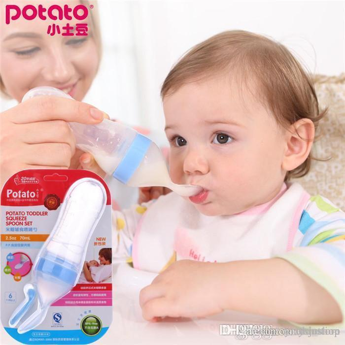 small potatoes silica gel infant feeding spoon bottle food supplement rice cereal feeder baby products