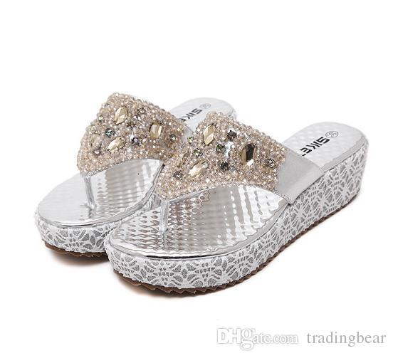 8f8604b76bb1 Gold Silver Crystal Flip Flops Wedge Slipper With Gem Rhinestone Sandals  Shoes Fashion Platform Wedge Sandals 2014 Size 35 To 39 Cheap Sandals  Summer ...