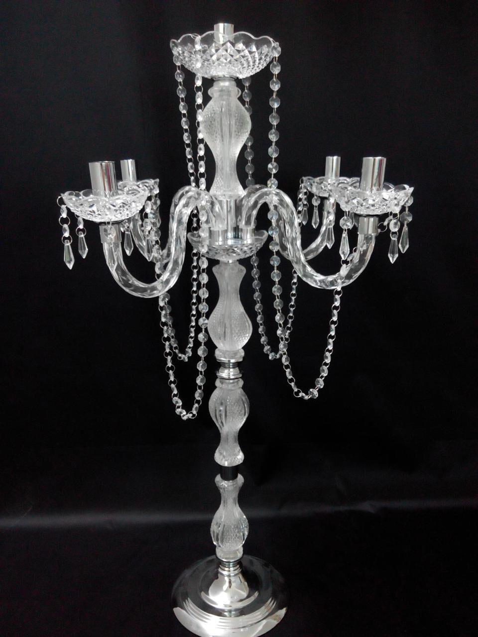 Yeni varış 90 cm yükseklik Akrilik 5-arms metal kristal kolye düğün mumluk ile metal şamdanlar 1 adet = 10 parça