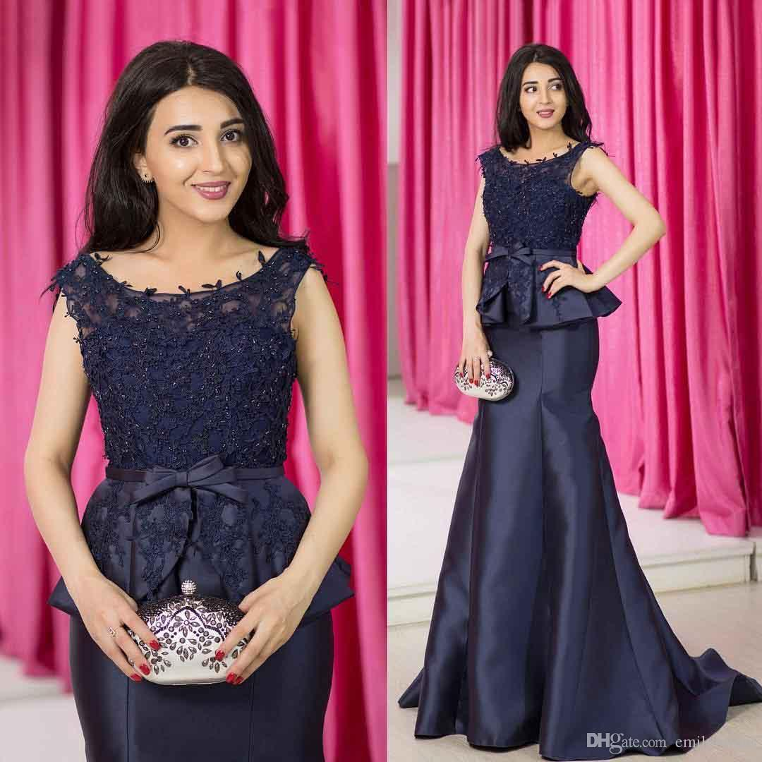 2018 Navy Blue Formal Evening Dresses Arabic Scoop Neckline Elegant ...