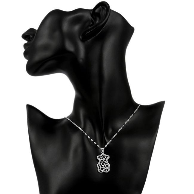 Venda quente das mulheres pequeno urso forma oco pingente de colar de prata esterlina colar STSN770, moda 925 colar de prata presente de natal