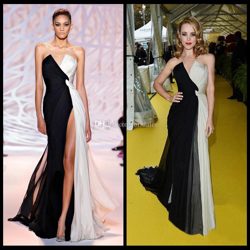 Elie Saab 섹시한 여자 패션 드레스 긴 슈퍼 우아한 프런트 분할 흑백 시폰 댄스 파티 드레스 2016