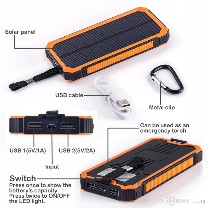 20000mah 태양 전원 은행 솔 라 충전기 방수 Batterie Externe 듀얼 USB 캠핑 Powerbank 휴대용 배터리 충전기 LED 빛