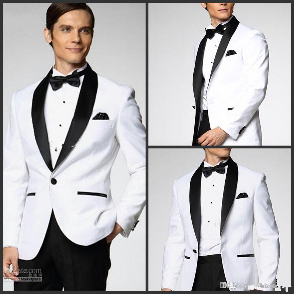 I più venduti bianco con smoking in raso nero bavero risvolto più stile scegli Groomsmen Abiti da sposa uomo giacca + pantaloni + papillon + fazzoletto