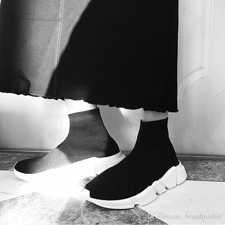 Двойной Коробка Сапоги Носки Черный Белый Скорость Тренер Женщина Обуви Человек Случайные Сапоги Высокое Качество Стрейч Вязать Высокий Топ Тренер Обувь Дешевые Кроссовки