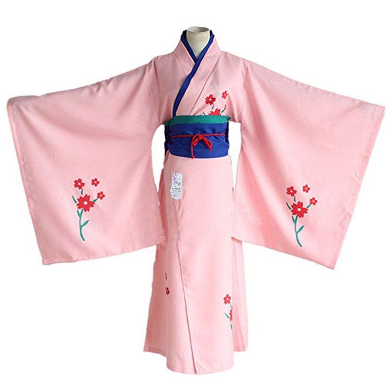 202e422b8ca5 Kukucos Anime Gintama Women S Japanese Pink Cherry Blossoms Kimono  Halloweeen Party Dress Up Cosplay Costume Japanese Costumes Online Girl  Anime Cosplay ...