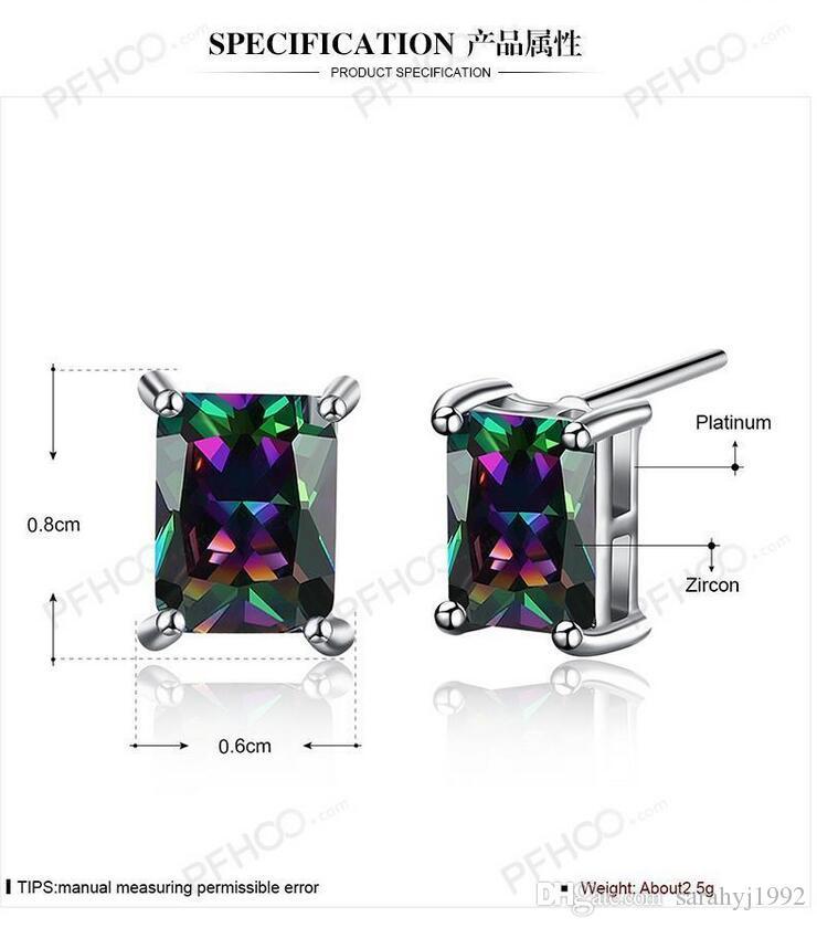 Комплект ювелирных изделий прямоугольный цирконий двухсекционный серьги кольцо платины PS548 мода ювелирные изделия Рождественский подарок