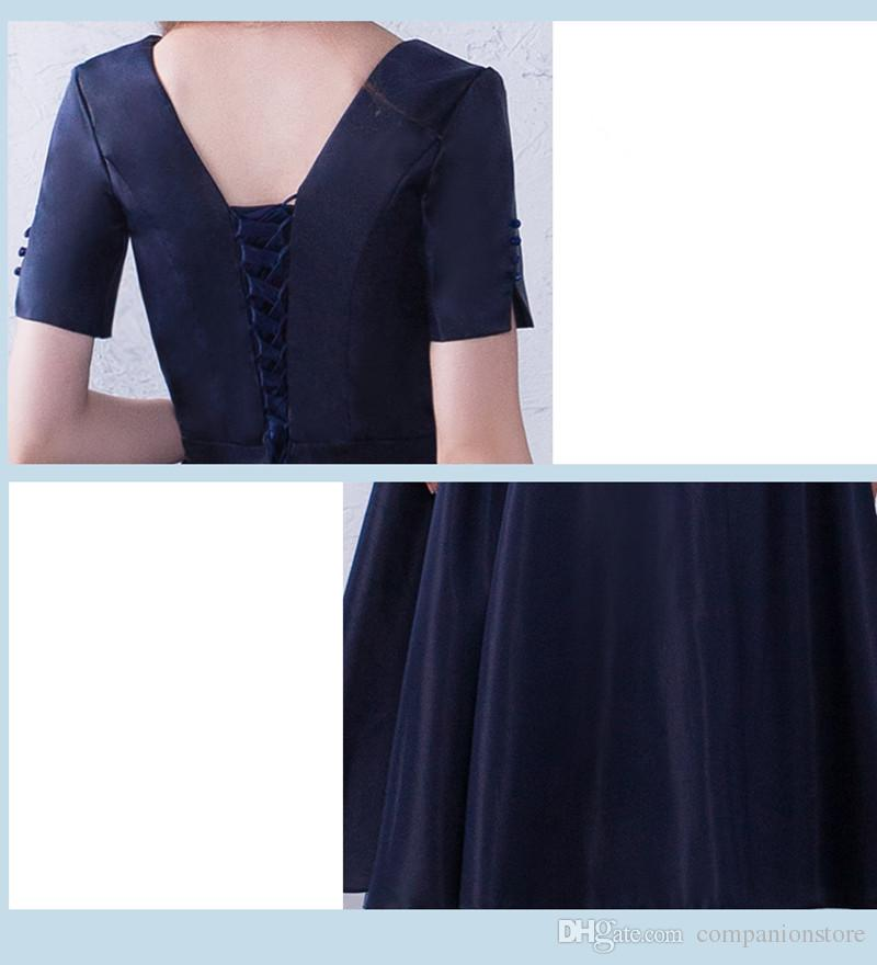 Real Photo Bleu Marine Taffetas V-Neck Manches Courtes Avec Bouton Sash Cristal Backless Lace Up Robe De Bal Thé Longueur Bal Robes De Fête