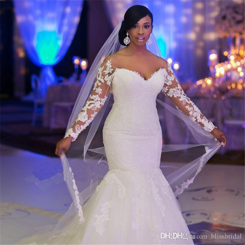 플러스 사이즈 머메이드 웨딩 드레스 오프 숄더 긴 소매 아플리케 레이스 커스텀 백 웨딩 웨딩 드레스 채플 트레인