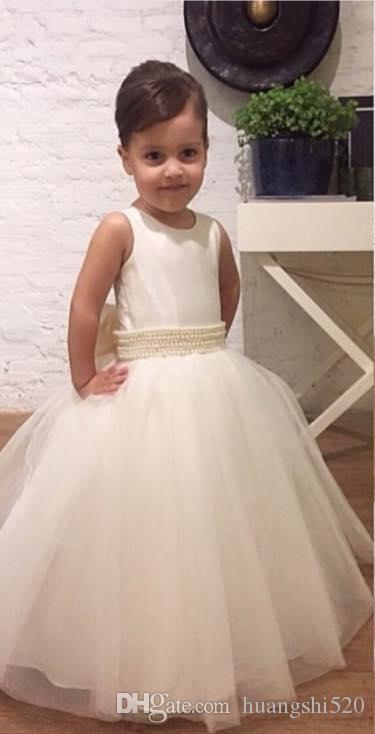 Pearl beads lace collar gauze bridesmaid cheap floor length girl beauty dress damask bowknot belt white wedding dress ball