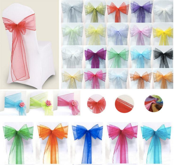 Chair Cover Bows online cheap colorful organza chair sashes wedding party banquet